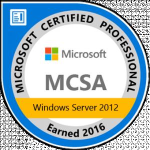 MCSA: Windows Server 2012 - Certified 2016
